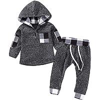LZH Conjunto unisex de ropa para bebés de 0 a 24 meses, sudadera de manga larga y pantalón, para niños y niñas, perfecto…