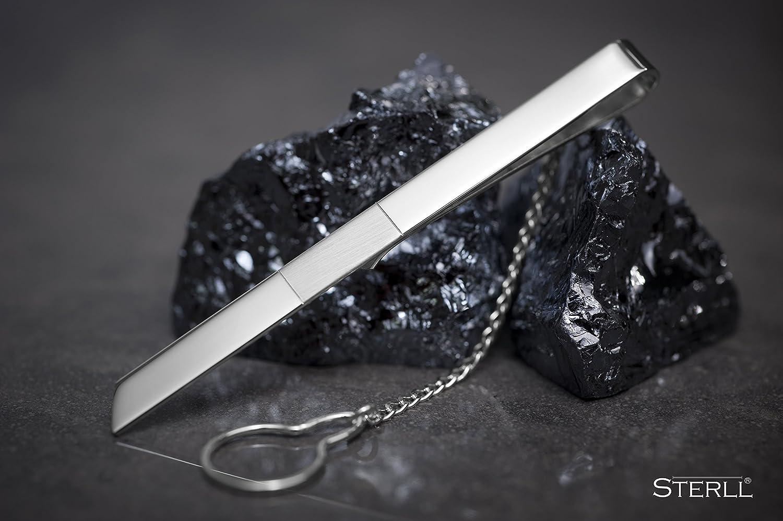 STERLL Homme Pince /à Cravate Argent 925 Brillante Avec une Bande Opaque Paquet Cadeau Romantique Pour