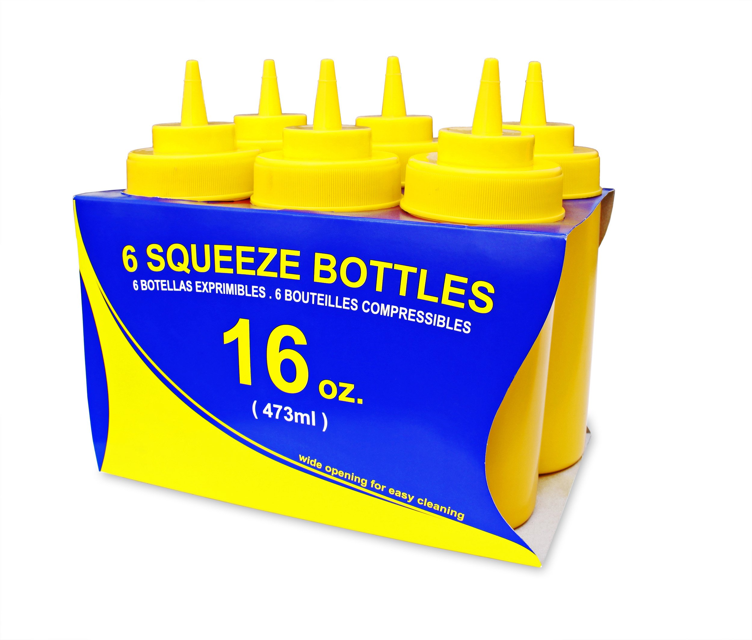 New Star Foodservice 26528 Squeeze Bottles, Plastic, Wide Mouth, 16 oz, Yellow, Pack of 6