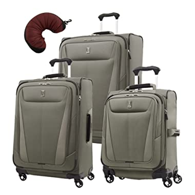 Travelpro Maxlite 5 | 4-PC Set | Int'l Carry-On, 25  & 29  Exp. Spinners with Travel Pillow (Slate Green)