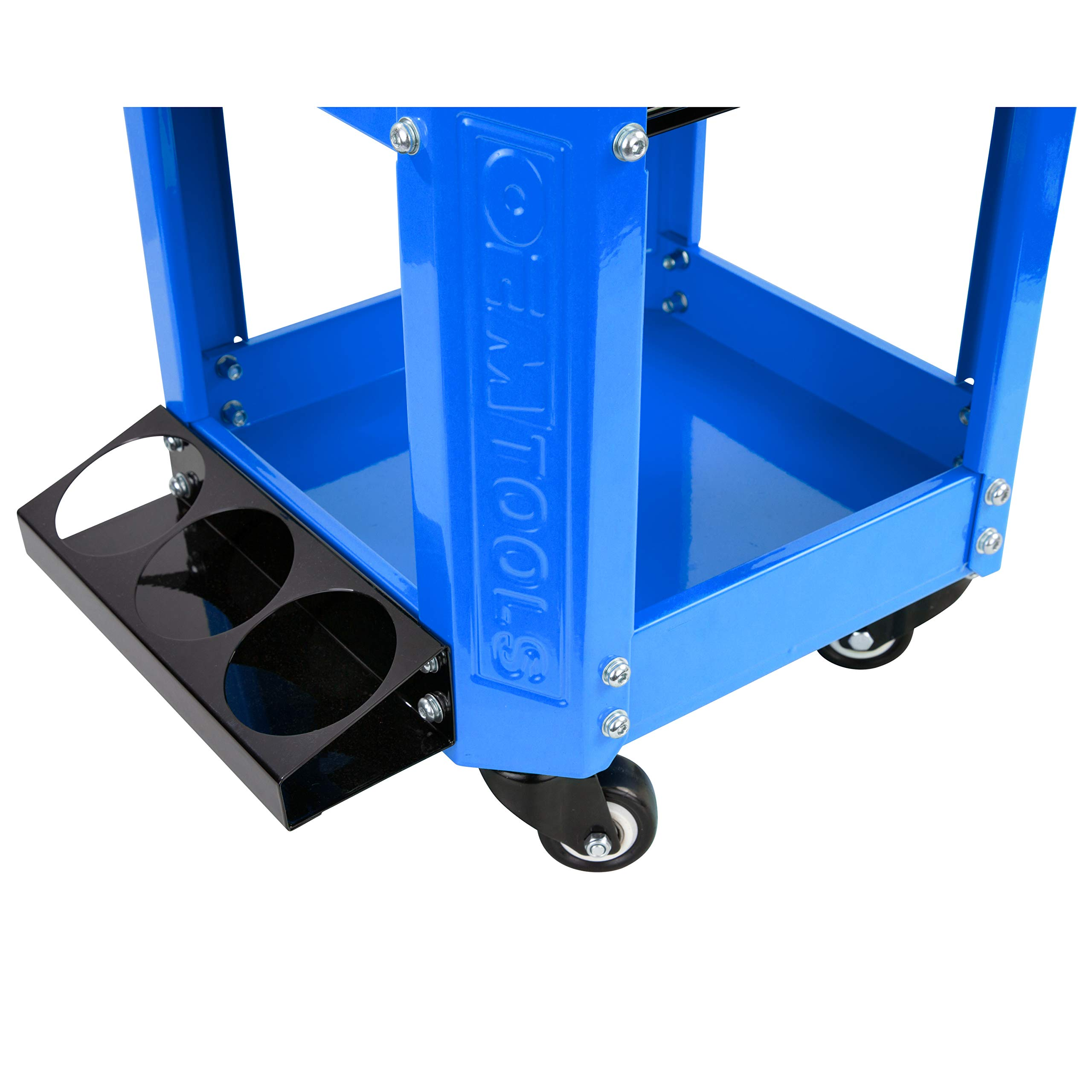 OEMTOOL 24996 Blue Rolling Workshop Creeper Seat with 2 Tool Storage Drawers Under Seat Parts Storage Can Holders by OEMTOOLS (Image #5)