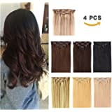 Clip in Hair Extensions Remy Human Hair for Women ¨C 4pieces 10 Clips With 7 Color Available