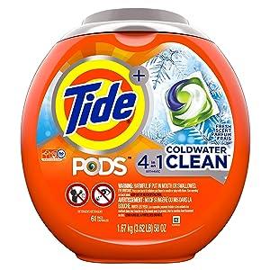 Tide Pods Coldwater Clean Liquid Laundry Detergent Pacs, Fresh Scent, Fresh Scent, 61 Count