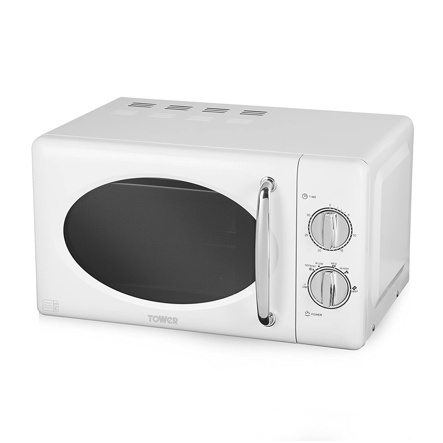 Tower T24017 Manual Solo Microwave with Full Stainless Steel Interior, 800 W, 20 liters, White