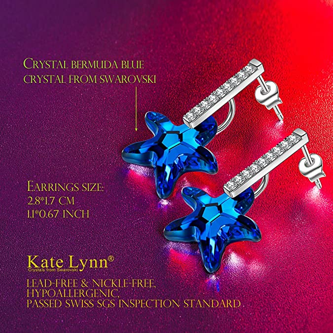 2521e4f74 Amazon.com: Kate Lynn Womens Swarovski Crystals Sea Star Stud Drop  Hypoallergenic Earrings Gifts for Women Valentine Gifts for Her Ladies  Gift: Jewelry