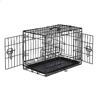 AmazonBasics Single-Door & Double-Door Folding Metal Dog or Pet Crate Kennel with Tray