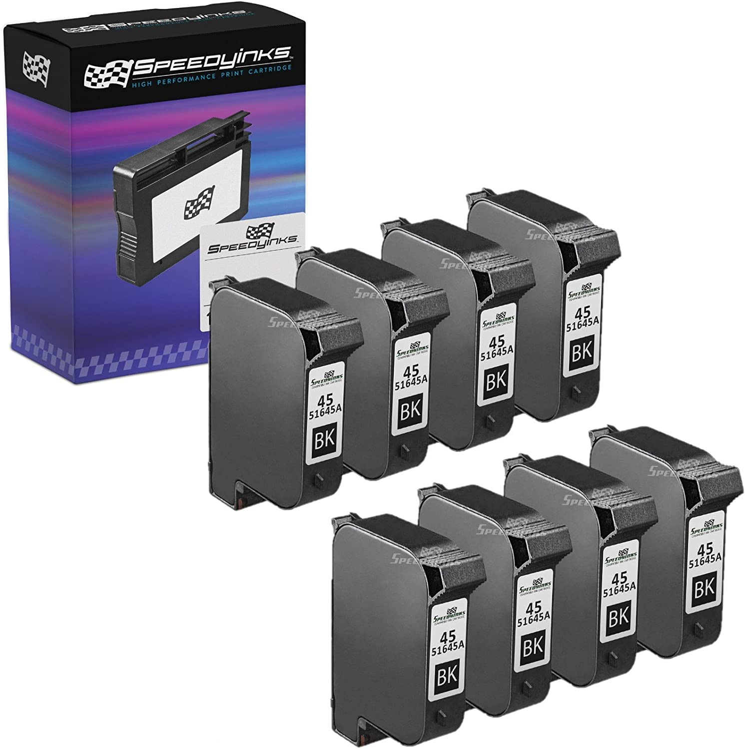 Speedy Inks Remanufactured Ink Cartridge Replacement for HP 45 5145A (Black, 8-Pack)