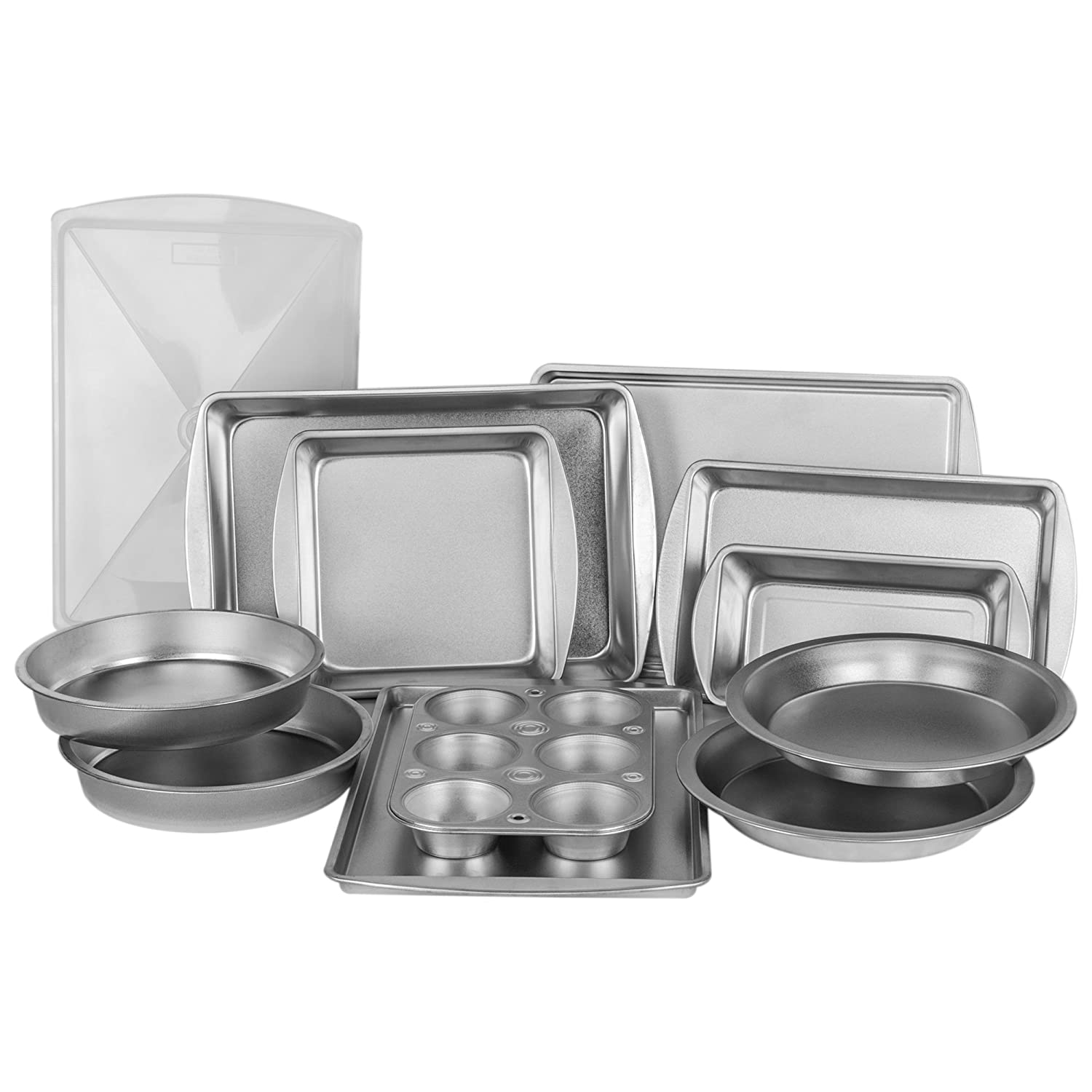 EZ Baker Uncoated, Durable Steel Construction 12-Piece Bakeware Set - Natural Baking Surface that Heats Evenly for Perfect Baking Results, Set Includes all Necessary Pans