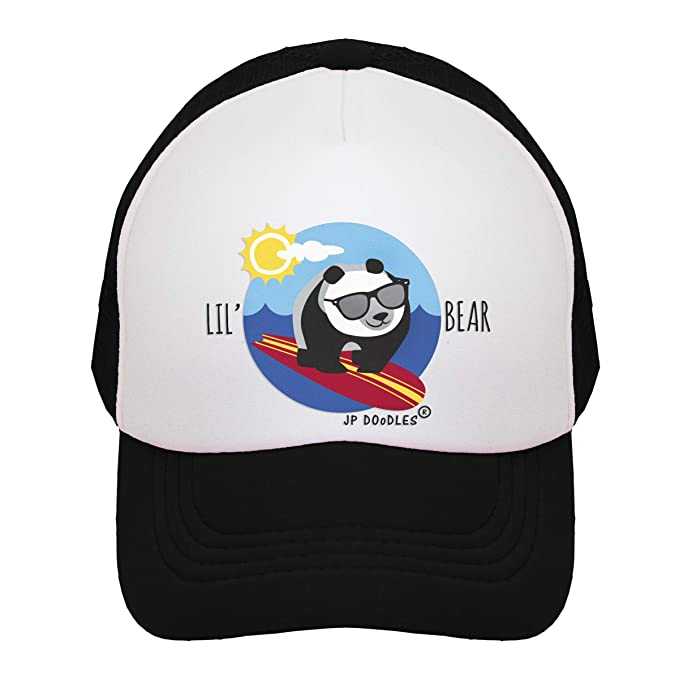 Amazon.com  JP DOoDLES Little Surfer Panda Bear Boy on Kids Trucker ... 2f2bc6ade80