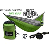 Lutila Double Camping Hammock- Lightweight PREMIUM Ripstop Nylon Hammock with Tree Straps and Carabiners