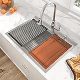 Drop Stainless Kitchen Sink - Sarlai 33 Inch Kitchen Sink Workstation Sink Drop In Topmount 16 Gauge Stainless Steel Round Co