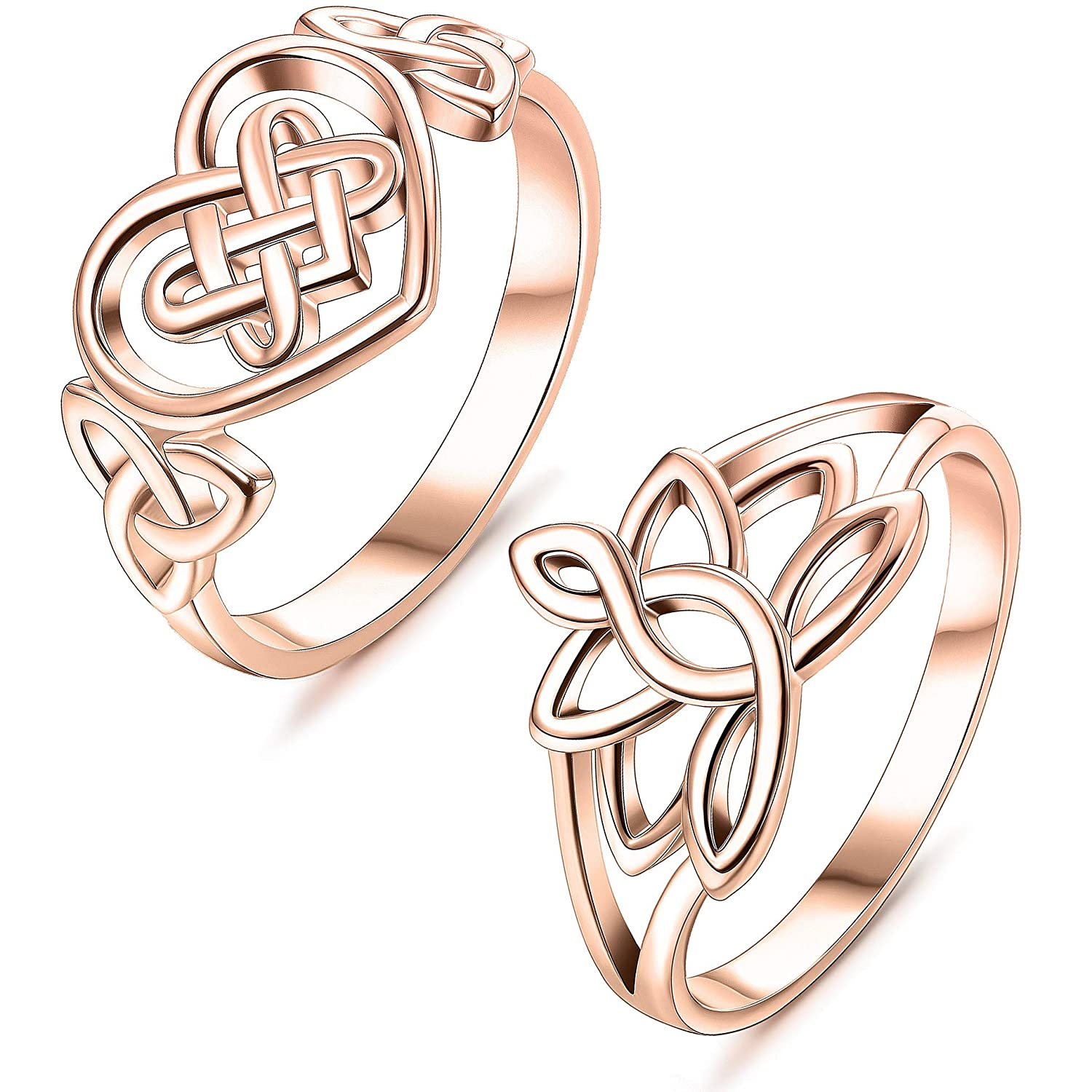 Amazoncom Lolias Stainless Steel Promise Ring Lotus Flower Celtic