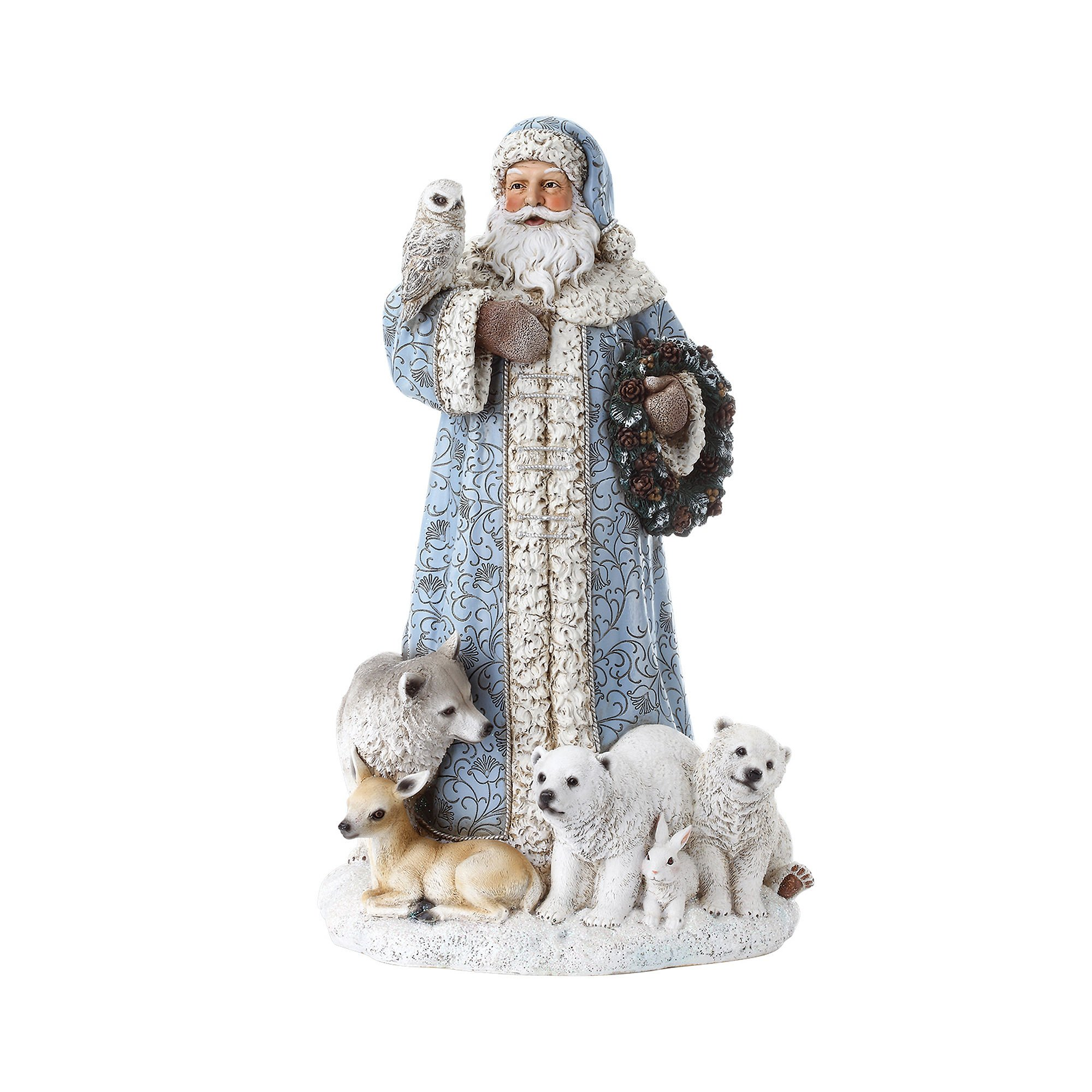 Powder Blue Santa Claus 16 inch Resin Stone Christmas Statue Figurine Decoration by Roman