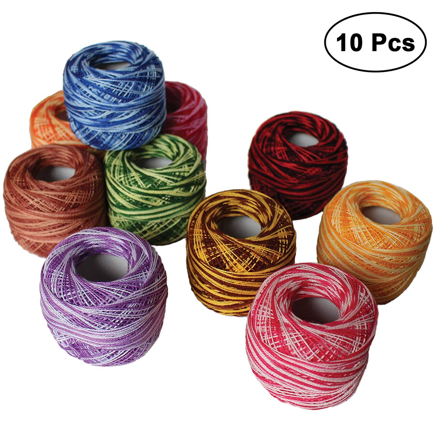 KURTZY 10 Pcs Crochet Threads size of 8-20g / 170m Cotton Crochet Thread Set Balls - Ideal for Cross Stitch, Needlepoint Hand Embroidery, Quilting Patterns, Projects and Applique - Assorted WO-644