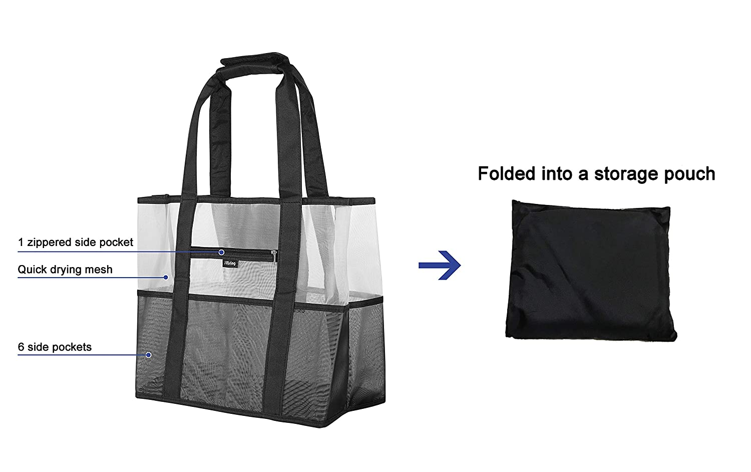 Mesh Tote Bag Heavy Duty Lightweight Foldable Large Toy Tote Bag Mom Bag with 8 Extra and Inside Pockets for Beach Swimming Pool Family Picnic Shopping Sports