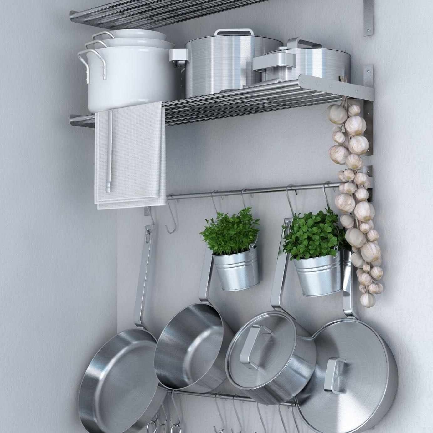 Amazon Com Ikea Grundtal Stainless Steel Wall Shelf Rail And 15 Large Hooks Set Kitchen Storage And Organizer Set Kitchen Dining