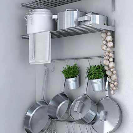 Beau Ikea Grundtal Stainless Steel Wall Shelf , Rail And 15 Large Hooks Set ,  Kitchen Storage