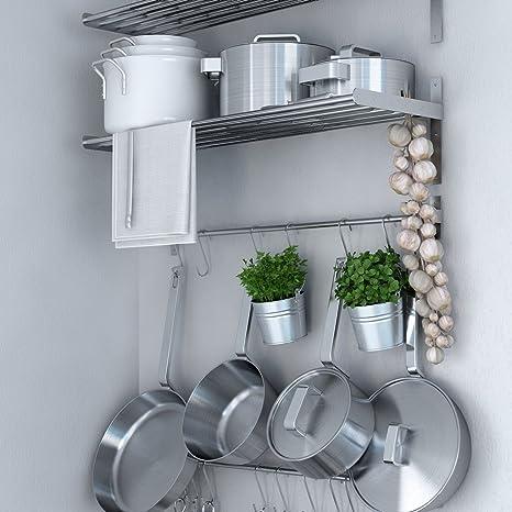 Ikea Grundtal Stainless Steel Wall Shelf Rail And 15 Large Hooks Set Kitchen Storage And Organizer Set