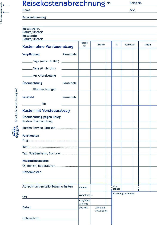 Avery Zweckform Formularbuch Reisekostenabrechnung weiß A4 50 Blatt Belege Reise