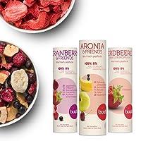 Buah Gefriergetrocknete Früchte, Geschenk-Set mit gefriergetrockneten Erdbeeren, Cranberry und weiterem Superfood - 3 Mischungen zw.16g-26g