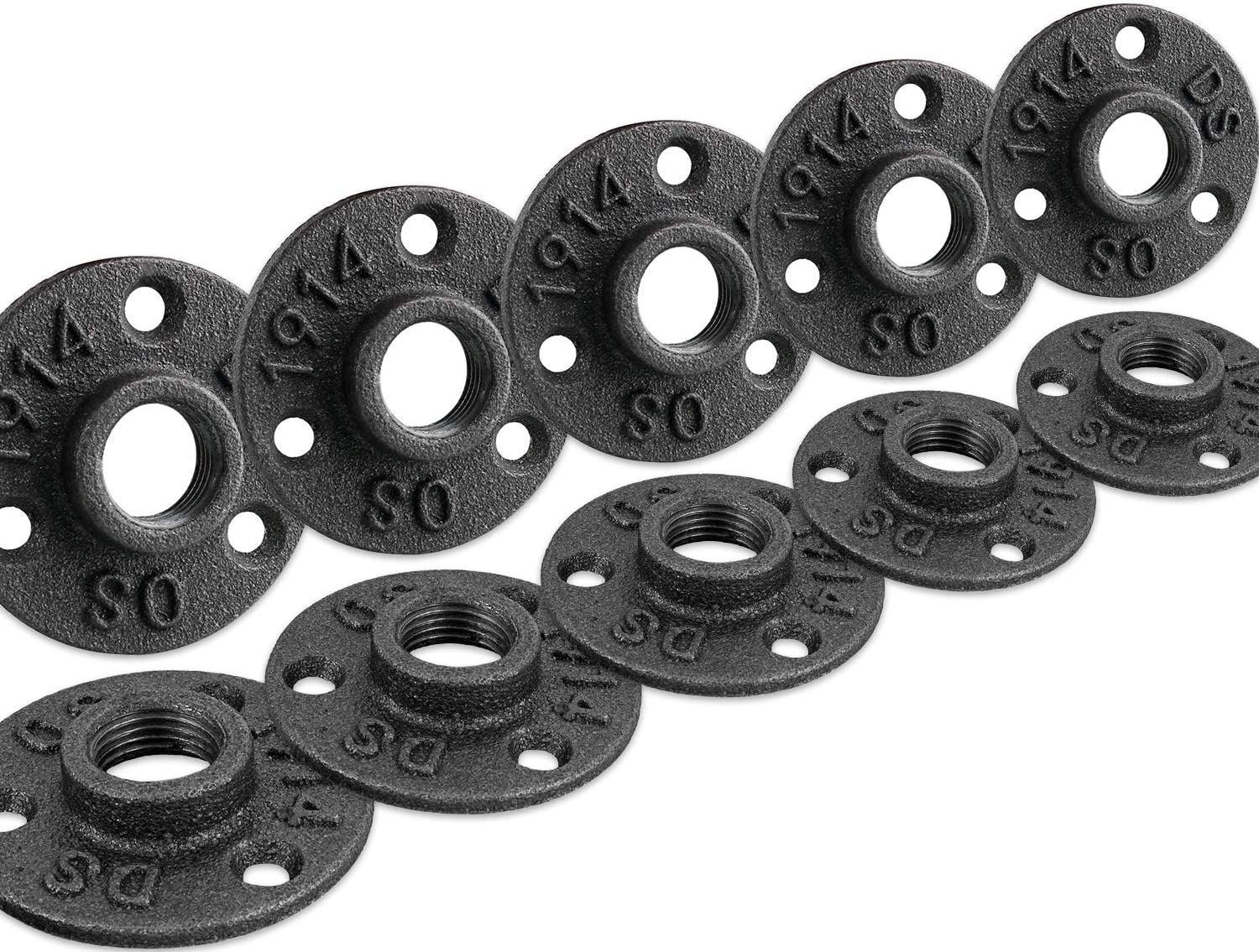 """1"""" Floor Flange, Home TZH Malleable iron Pipe Fittings for Industrial vintage style, Flanges with Threaded Hole for DIY Project /Furniture/ Shelving Decoration (10 Pack)"""