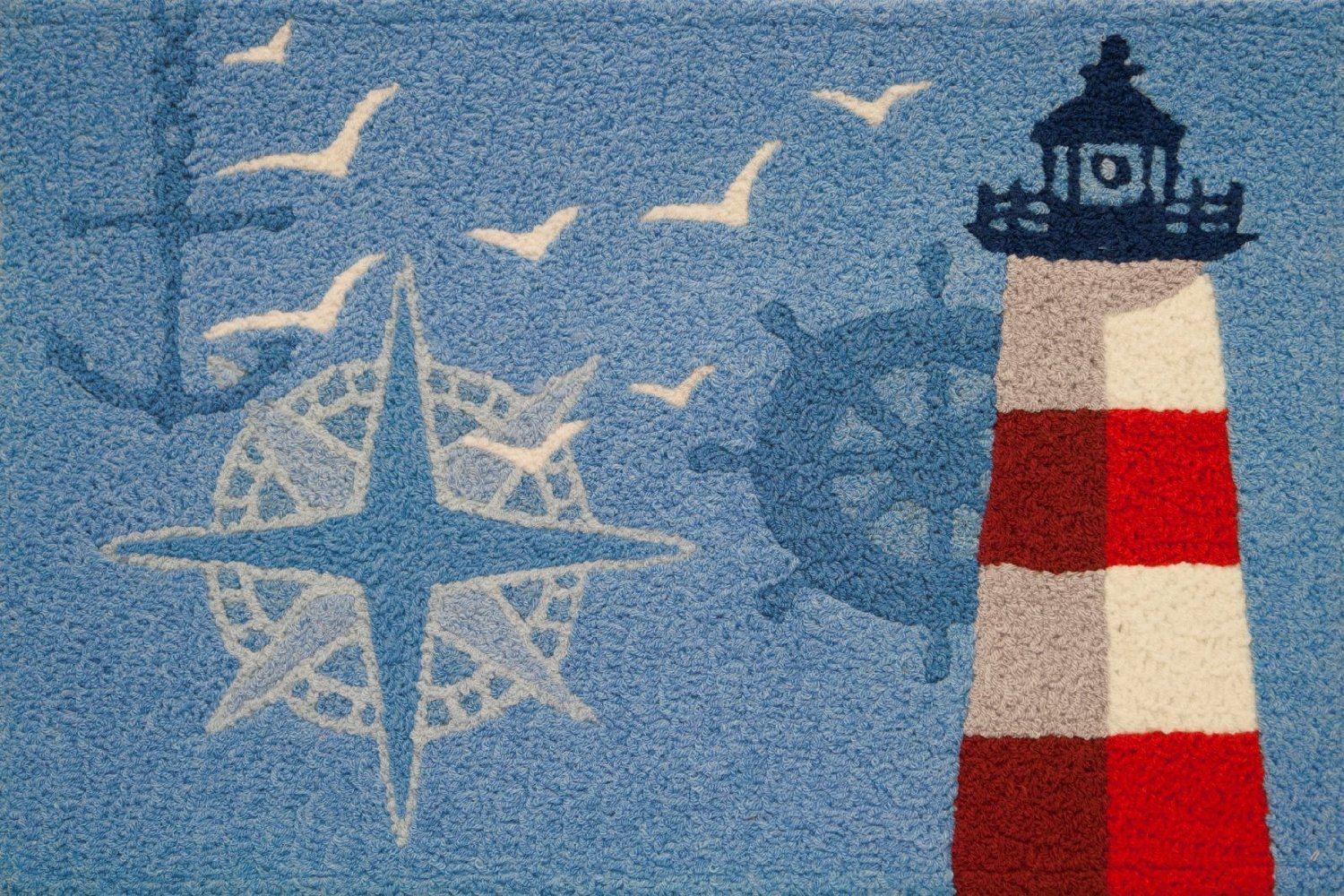 Ocean Outpost Red White Lighthouse Compass Anchor Accent Rug