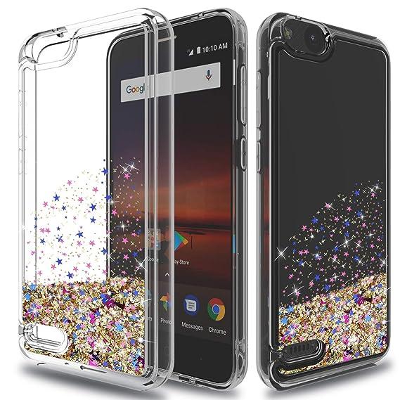 best cheap bdc64 d40b7 ZTE Tempo X Case,ZTE Blade Vantage Case,ZTE Avid 4 Case with HD Screen  Protector,Wtiaw Teen Girls Women Bling Liquid Luxury Glitter Sparkle Soft  ...
