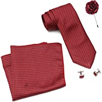Axlon Men Formal/Casual Weaved Polyester Neck Tie Pocket Square Accessory Gift Set with Cufflinks and Lapel Pin - Red (Free Size, ltr_822)