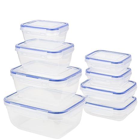 Grizzly Click & Store – Alimentos Contenedores de almacenamiento hecho - Mezclados Set de 8 (