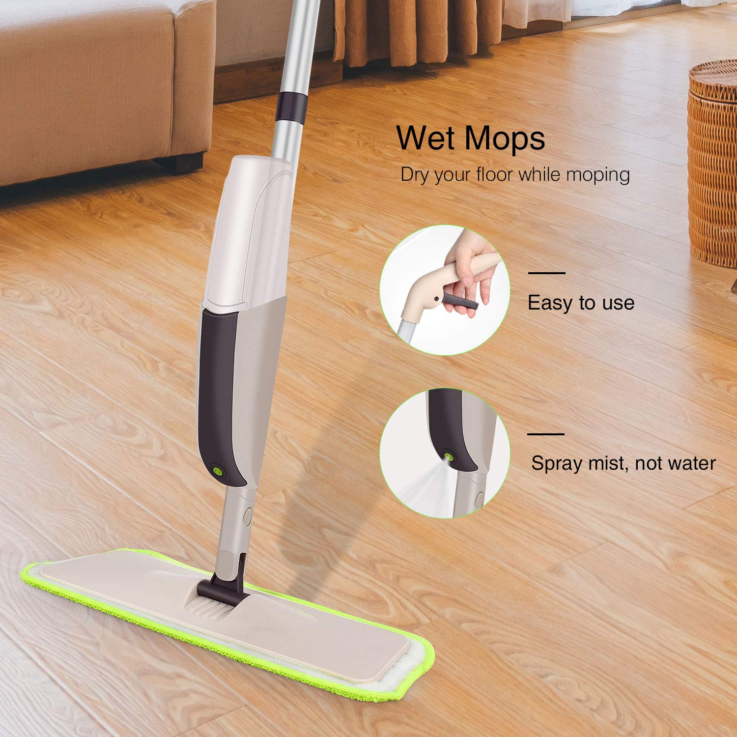 Hardwood Spray Mop for Floor Cleaning, CXhome Microfiber Mop for Tile Floors, Wet Dry Mop with Sprayer and 2 Mop Pads, 1 Refillable Bottle by CXhome (Image #3)