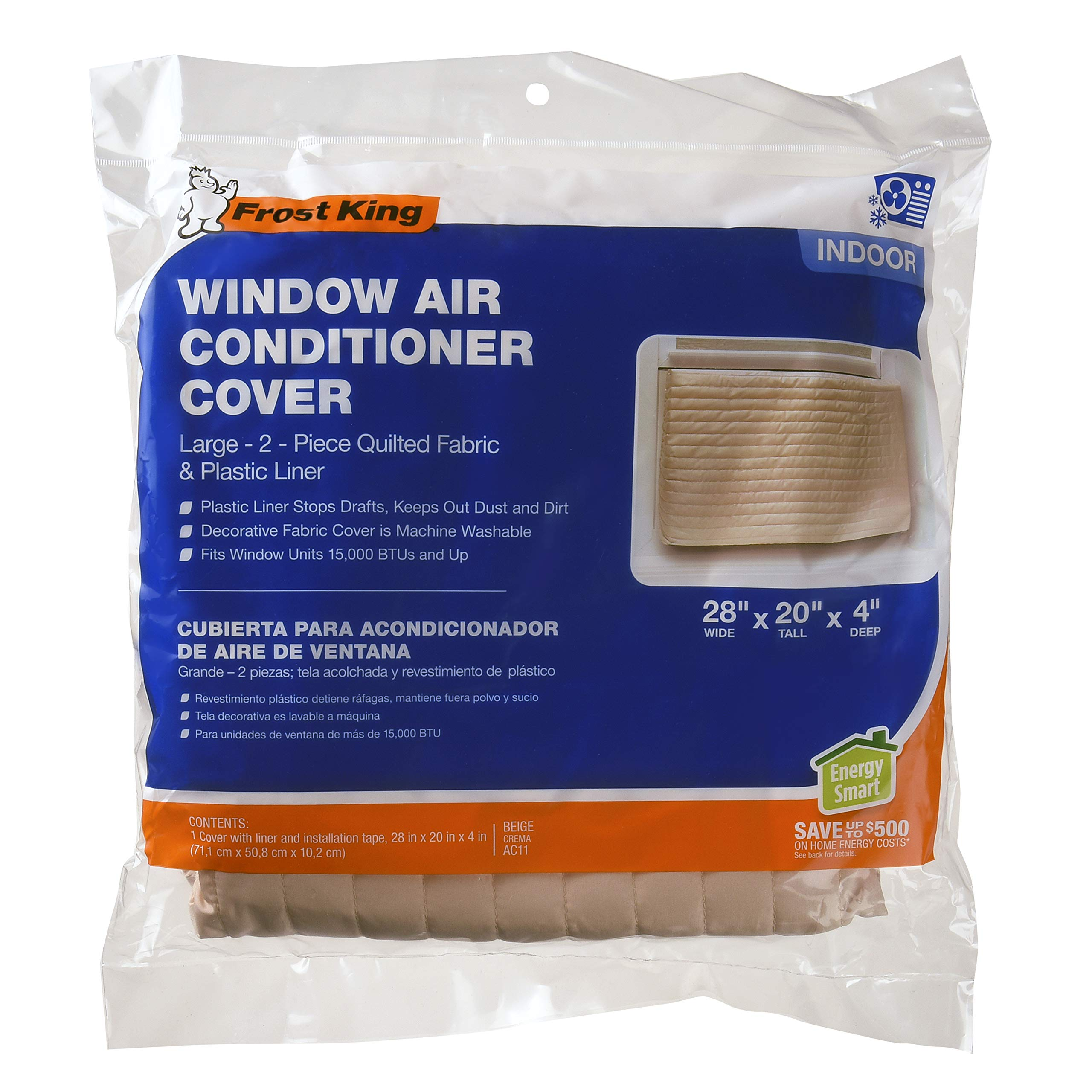 Frost King 2-Piece Quilted Indoor Air Conditioner Cover, Large, fits units up to 20'' x 28''