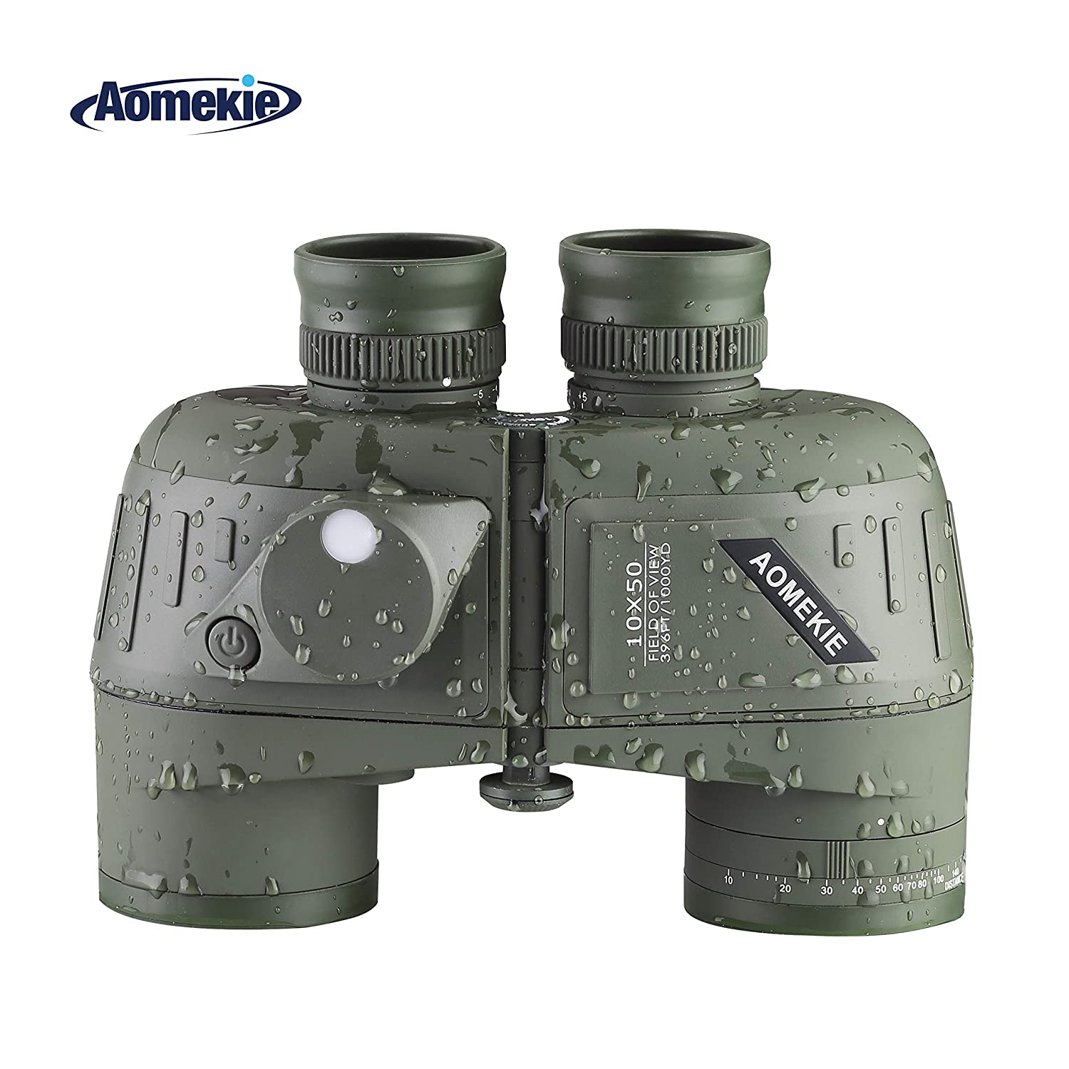 Aomekie Marine Military Binoculars for Adults 10×50 Waterproof Binoculars with Rangefinder Compass BAK4 Prism FMC Lens for Birdwatching Hunting Boating Green