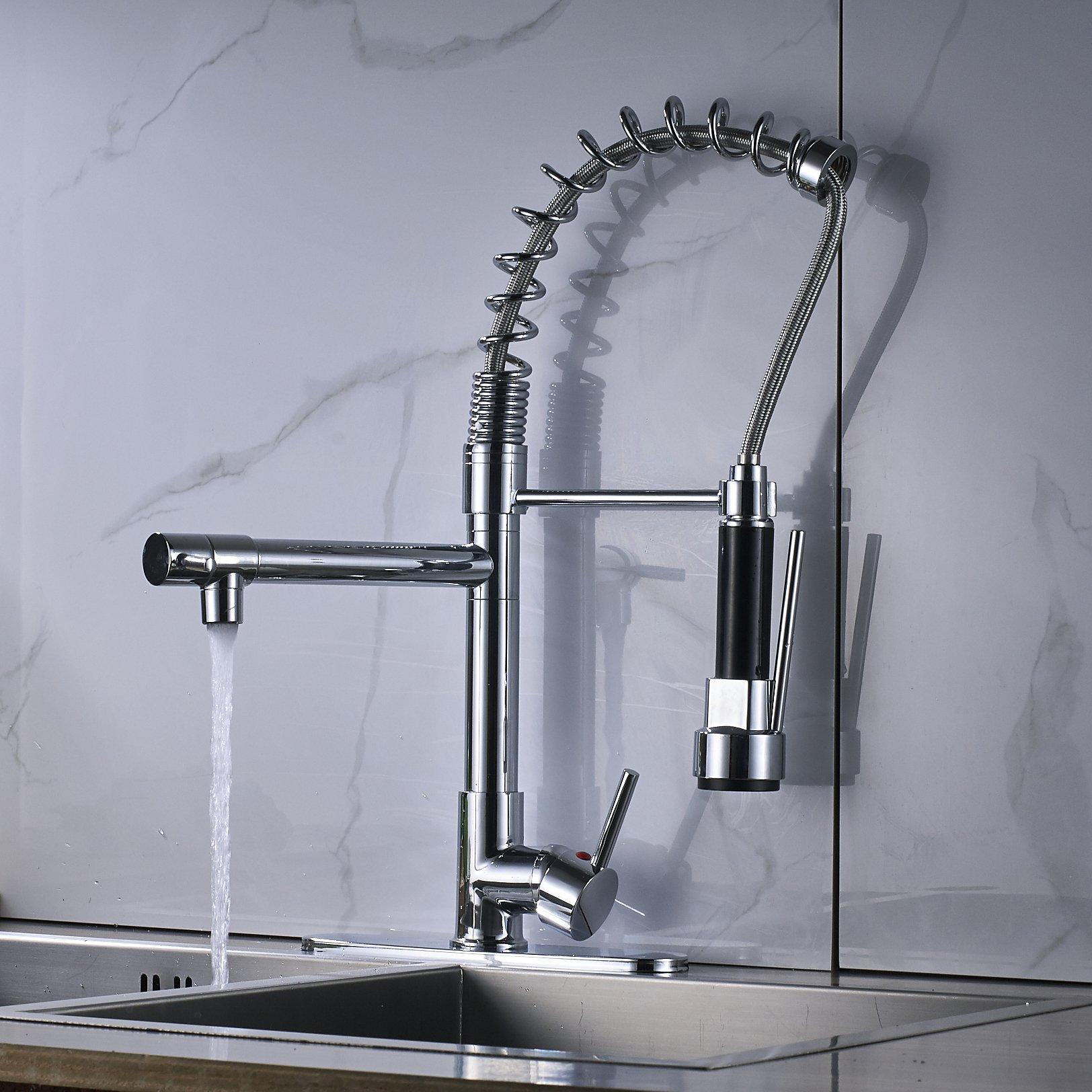 Rozin Chrome Finish LED Light Sprayer Kitchen Sink Faucet Spring Swivel Spout Mixer Tap by Rozin (Image #5)