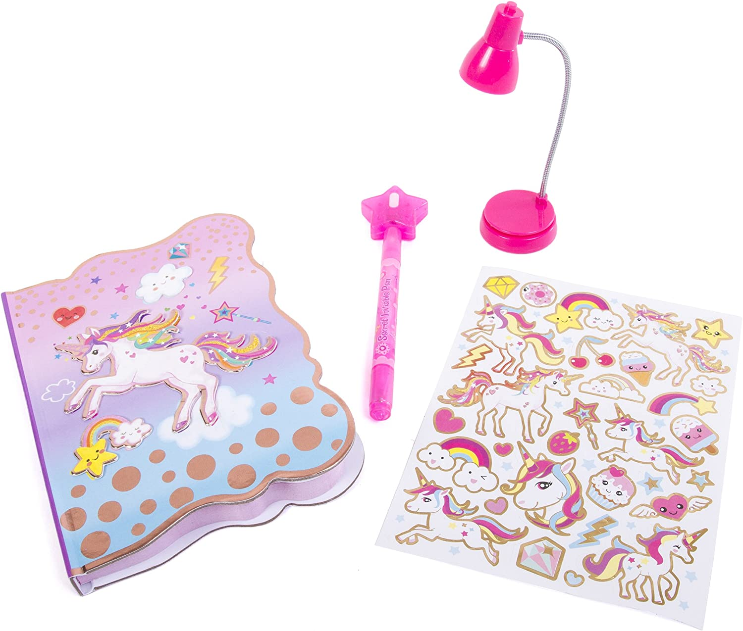 """Hot Focus Unicorn Secret Diary with LED Book Light Invisible Ink Pen and Sticker Set 6/"""" Journal Notebook with 100 Double Sided Lined Pages for Kids"""