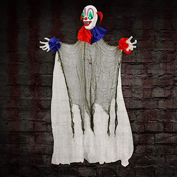 5 Foot Animated Hanging Evil Circus Clown - Rotates, Music, Laughs, Eyes Strobe