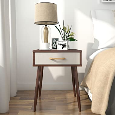 Lifewit Side End Table Nightstand Bedroom Living Room Table Cabinet with Beige Drawer