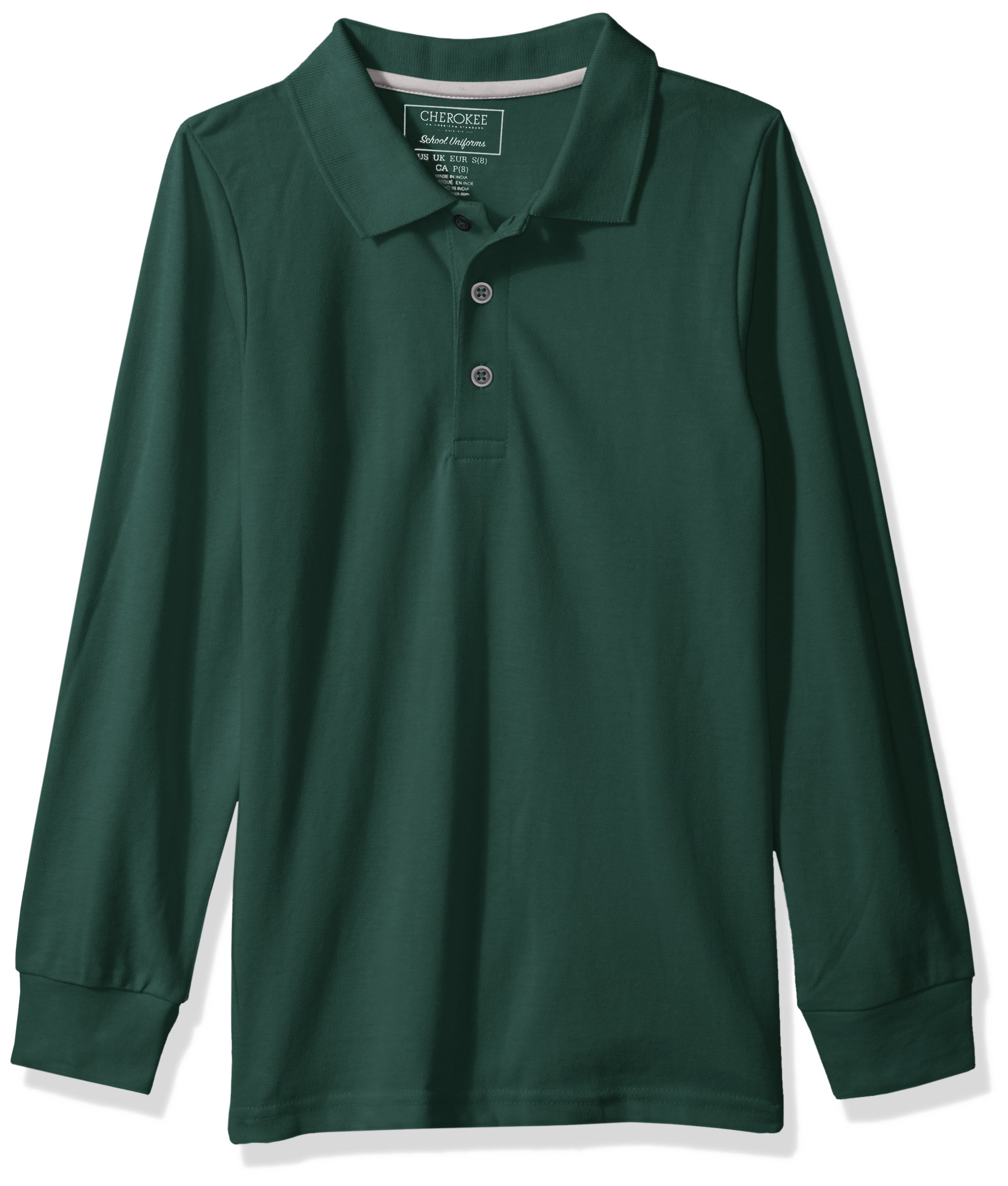 Cherokee Little Boys' Uniform Long Sleeve Pique Polo, Hunter Green, 7