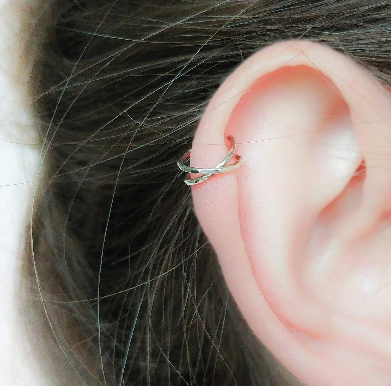 CROSSED handmade sterling silver false earring