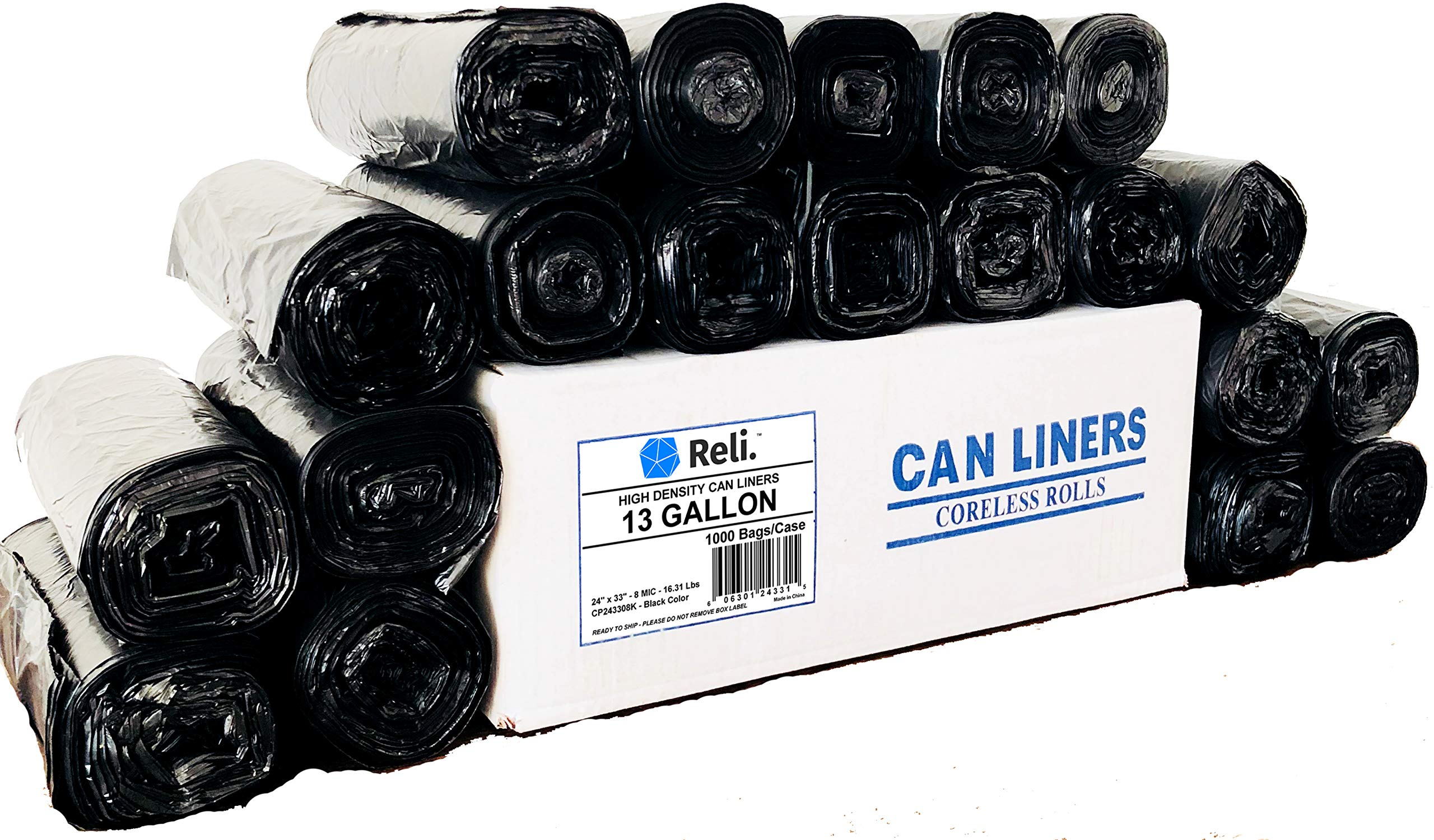 Reli. Trash Bags, 13 Gallon (Wholesale 1000 Count) (Black) - Can Liners, Garbage Bags with 13 Gallon (13 Gal) to 16 Gallon (16 Gal) Capacity