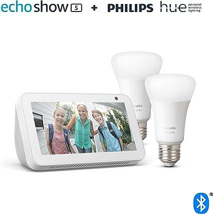 Echo Show 5, blanco + Philips Hue White Pack de 2 bombillas LED ...