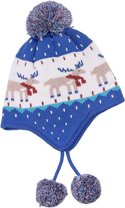 7504e5fdb1764f Baby Knit Winter Beanie Hat Toddler Boys Girl with Warm Earflap Pom Pom