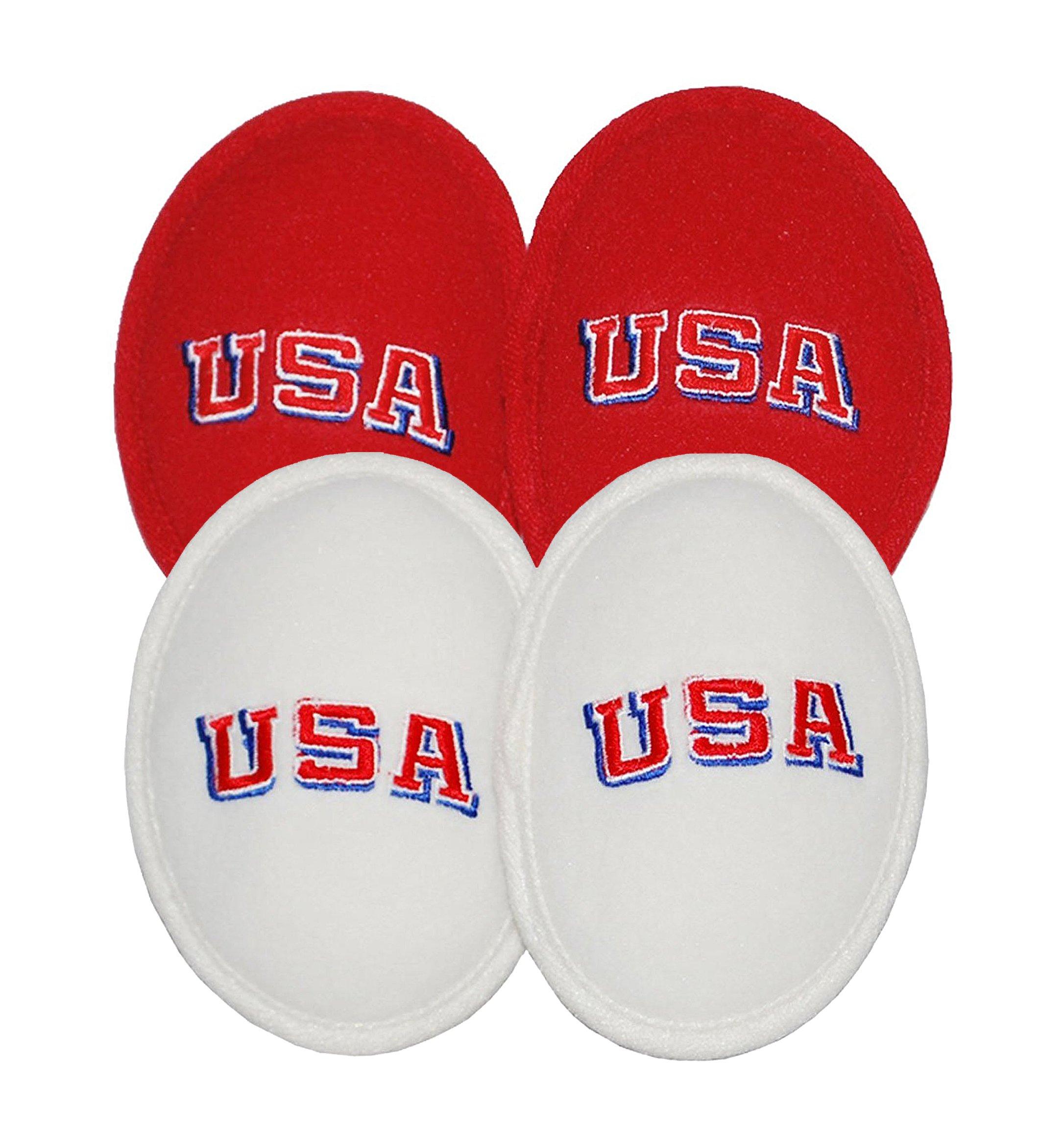 2 Pack Ear Mitts Fleece Bandless Ear Muffs For Men, Red & White USA, Regular
