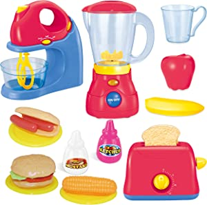 JOYIN Assorted Kitchen Appliance Toys with Mixer, Blender and Toaster Play Kitchen Accessories