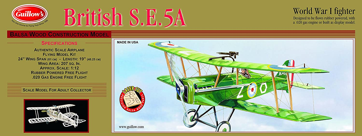 GUILLOW's British S E5-A 202 Powered Balsa Flying Model Kit