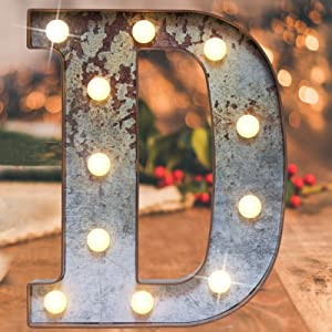 Vintage Illumination Led Marquee Letter Lights,Iron Effect Industrial Style Light Up Alphabet Letter Sign for Cafe Wedding Birthday Party Christmas Lamp Home Bar Initials Decor(Rusty letter D)