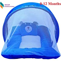 Nagar International Baby Luxury and High Quality Cot Bedding Set with Mosquito Net in Polyester Fabric (Polyester Blue, 0-12 Months)
