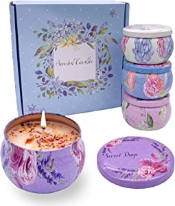 Orentas, Scented Candles Gift Set, Pure Natural Soybean for Aromatherapy Wax ,Travel Tin Candles for Home Meditation , Mother's Day Gift, Birthday Gift, 4 Packs, 4.4oz (Jasmine/Rose/Peony/Camellia)