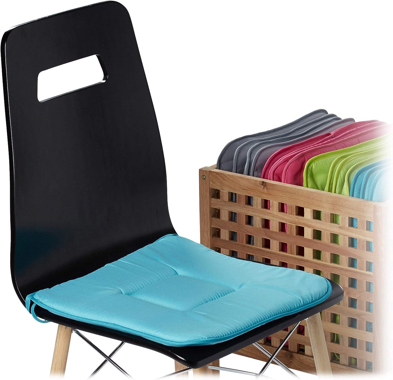 Galette de chaise avec boucles coussin de chaise lot de 4 coussins lavables jardin int/érieur ext/érieur taupe