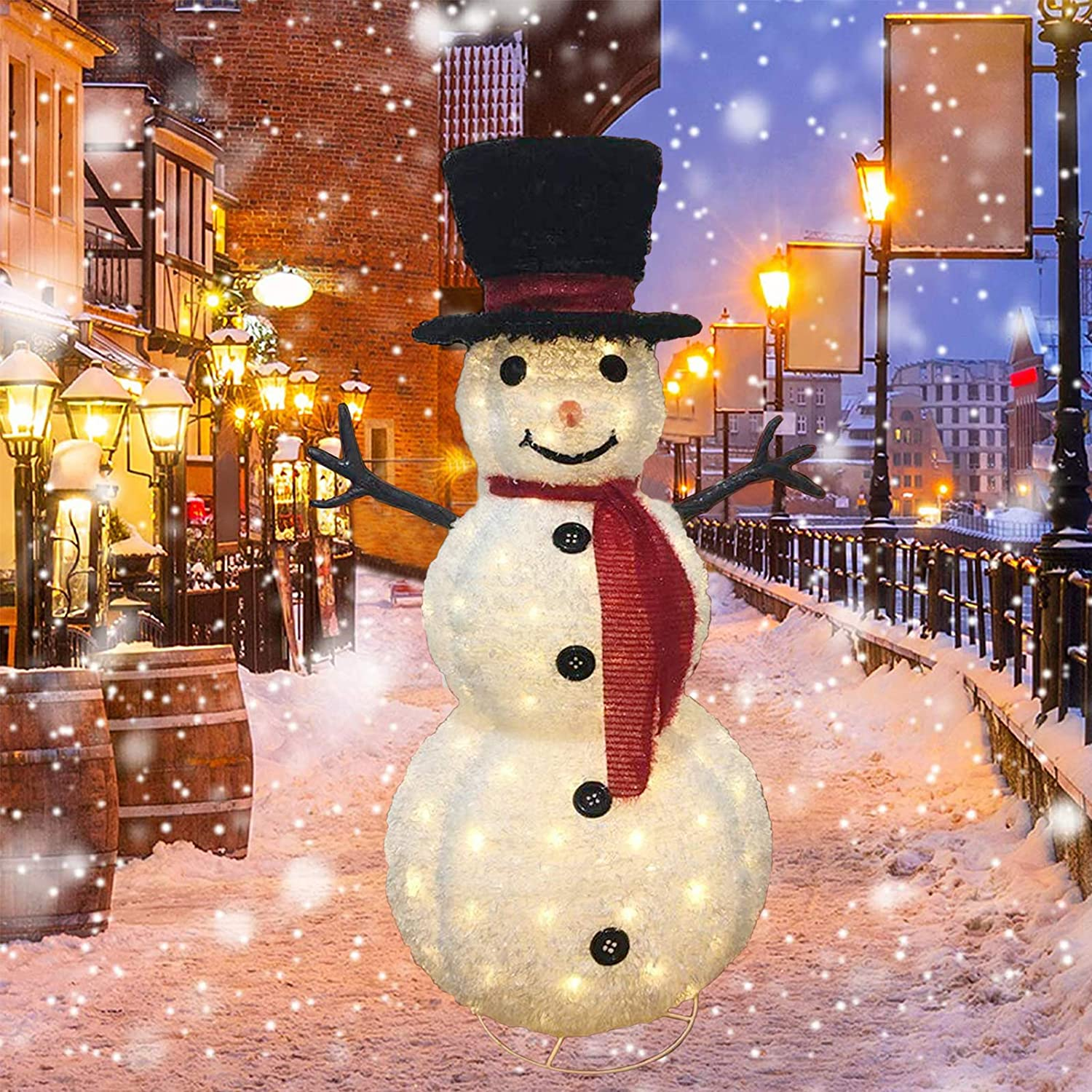 47 Inch Pre Lit Christmas Snowman with Warm White Lights, Perfect Decorations for Christmas Party Indoor Outdoor Lawn Yard Garden Xmas Holiday Yard Display Decor