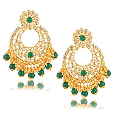 Indian Bollywood Kundan Meenakari Jhumki Earring Chapado en Oro Mujeres Joyería Regalo